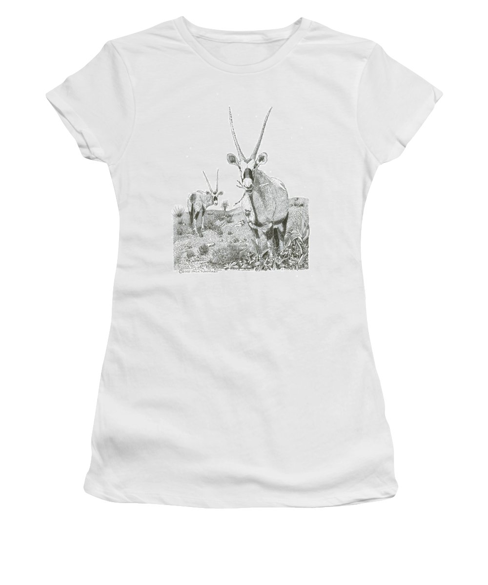 Images Of White Sands Orax Framed Art Of Wild Animals. Framed Pen And Ink Art Of Oryx Women's T-Shirt (Athletic Fit) featuring the drawing White Sands Orax by Jack Pumphrey