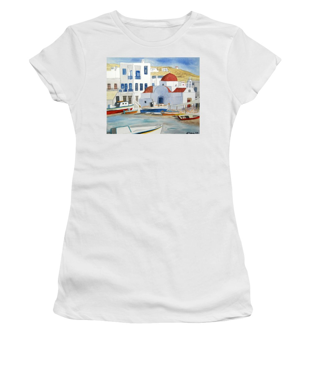 Mykonos Women's T-Shirt featuring the painting Watercolor - Mykonos Greece Detail by Cascade Colors