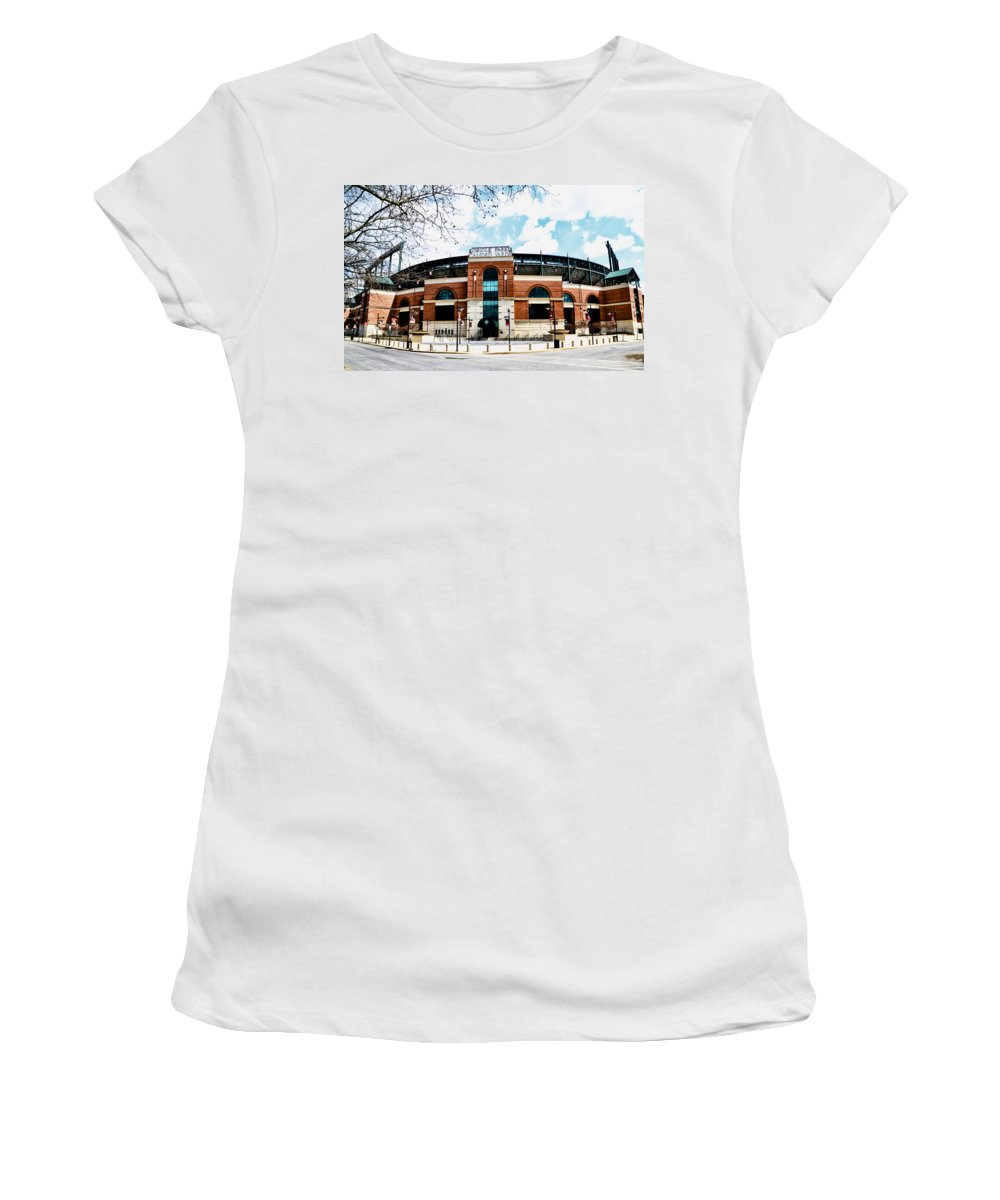 Oriole Women's T-Shirt (Athletic Fit) featuring the photograph Oriole Park - Camden Yards by Bill Cannon