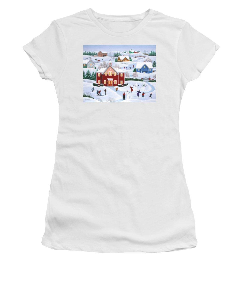 Folk Art Women's T-Shirt featuring the painting Our Beloved Teachers by Wilfrido Limvalencia