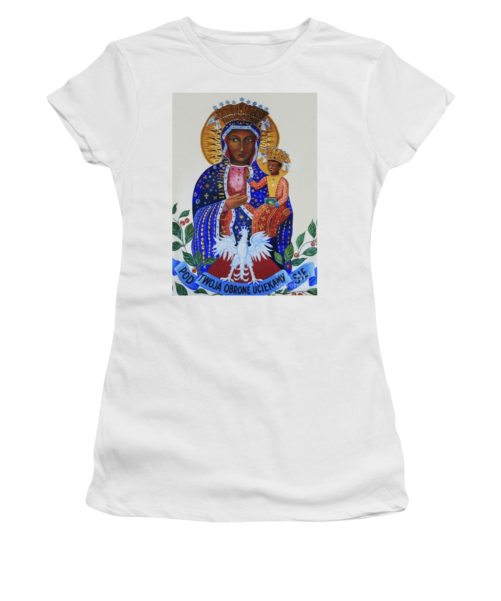 Our Lady. Czestochowa Women's T-Shirt (Athletic Fit) featuring the photograph Our Lady Of Czestochowa by Barbara McMahon