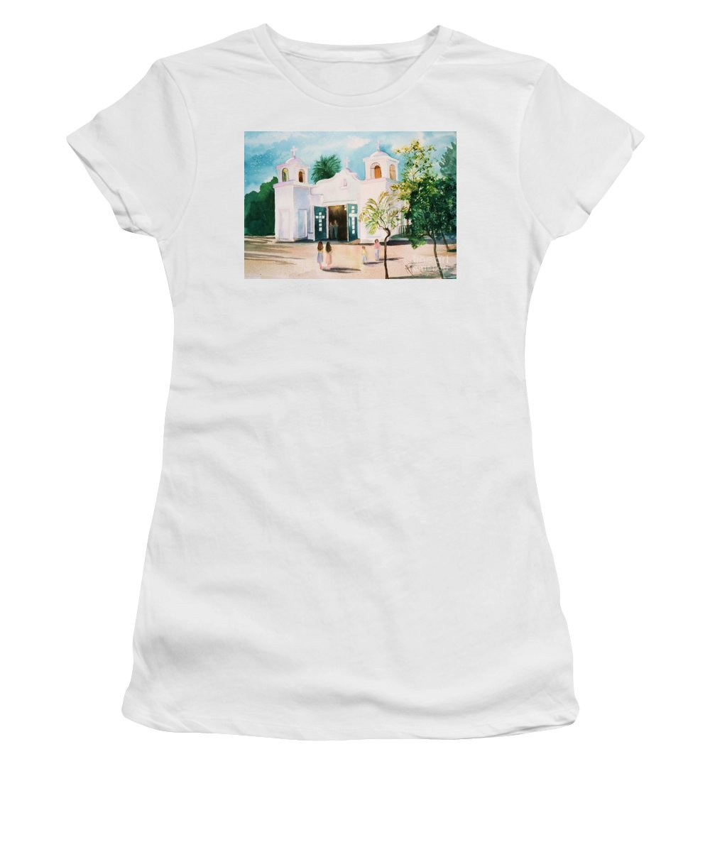 Mission Church Women's T-Shirt featuring the painting Our Lady Of Guadalupe by Marilyn Smith