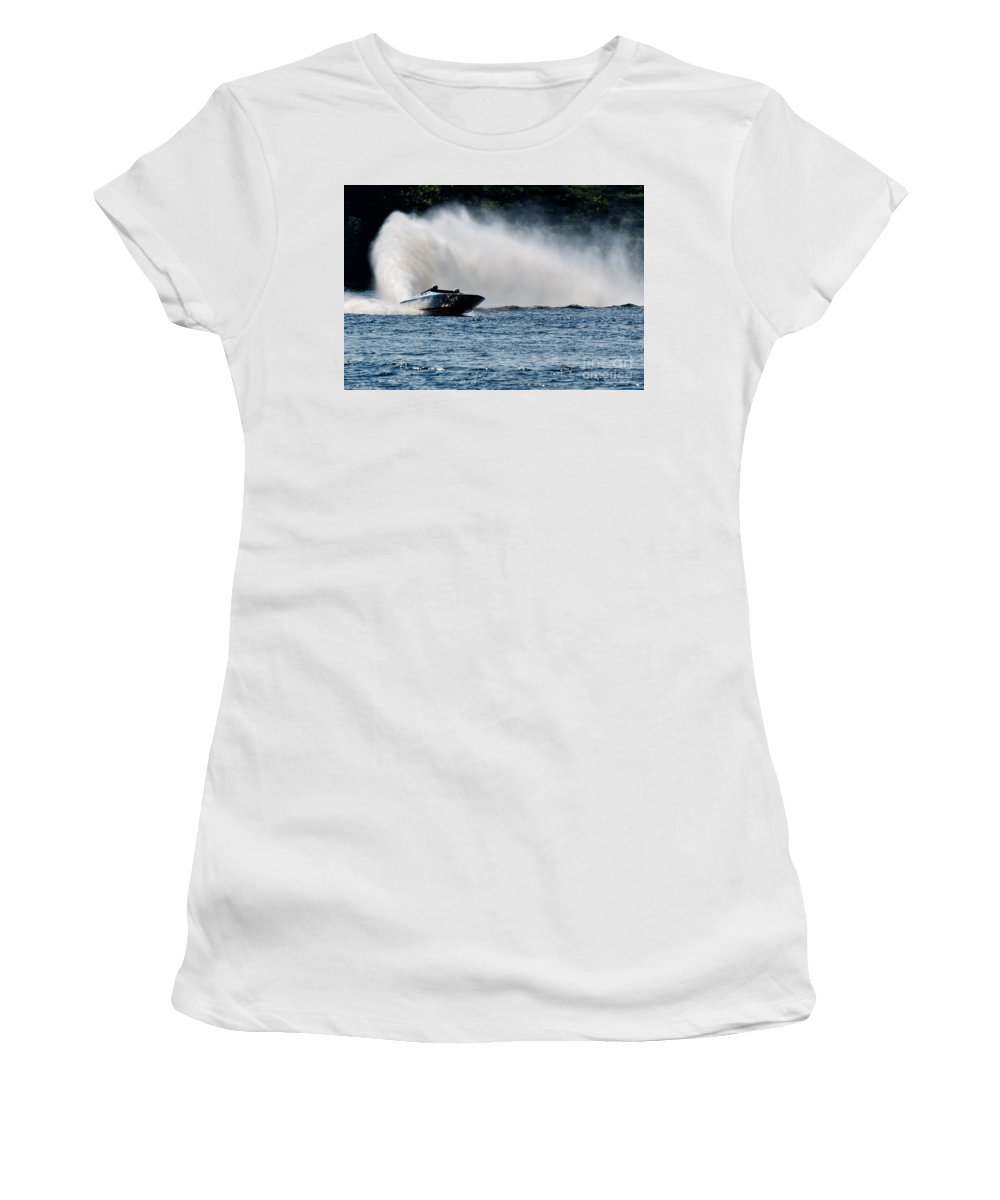 Boat Women's T-Shirt featuring the photograph Out Of The Curve by Les Palenik