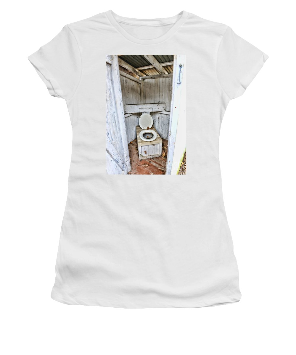 Outhouse Women's T-Shirt featuring the photograph Outhouse A Look Inside by Paul Ward