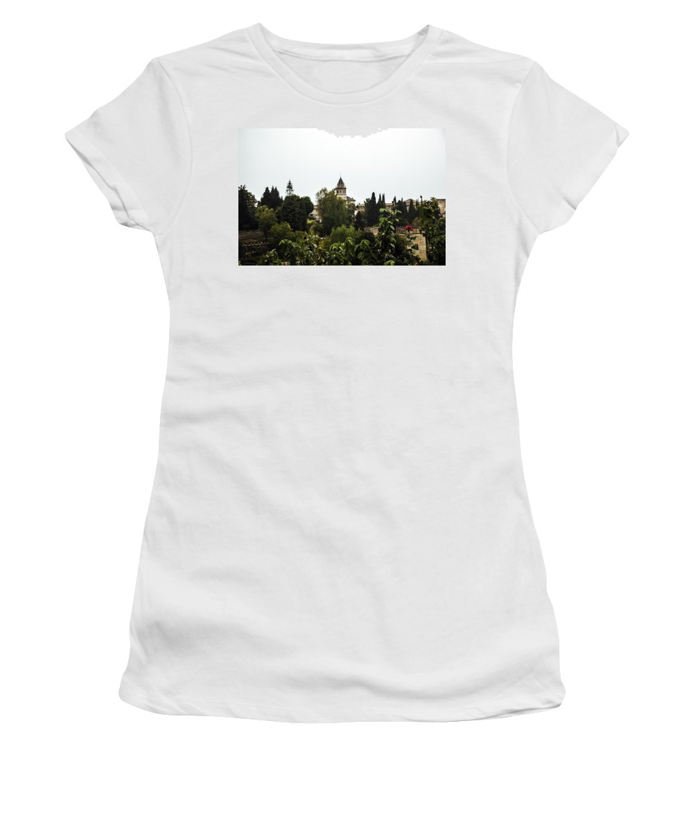 Alhambra Women's T-Shirt (Athletic Fit) featuring the photograph Overlooking The Alhambra On A Rainy Day - Granada - Spain by Madeline Ellis