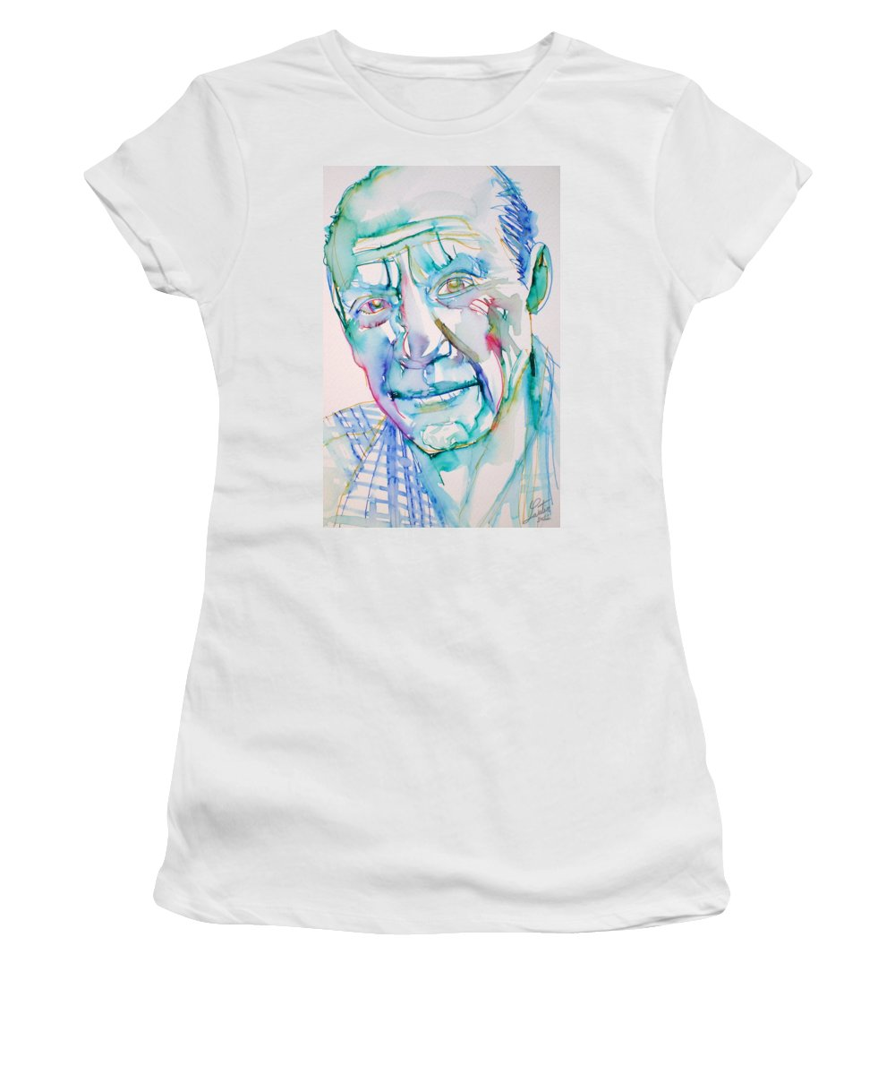 Pablo Women's T-Shirt (Athletic Fit) featuring the drawing Pablo Picasso- Portrait by Fabrizio Cassetta