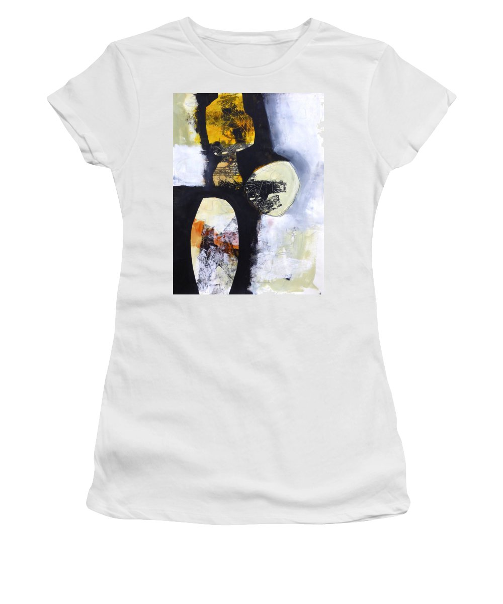 Keywords: Abstract Women's T-Shirt featuring the painting Paint Improv 2 by Jane Davies