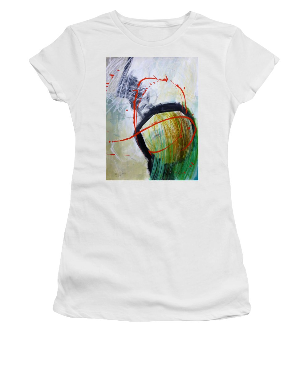 Keywords: Abstract Women's T-Shirt featuring the painting Paint Solo 8 by Jane Davies