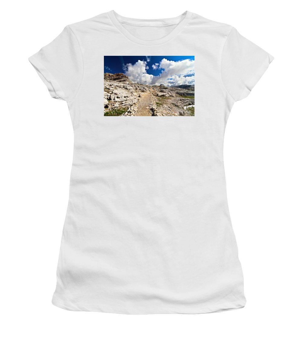 Alpine Women's T-Shirt (Athletic Fit) featuring the photograph Pale Di San Martino Plateau by Antonio Scarpi