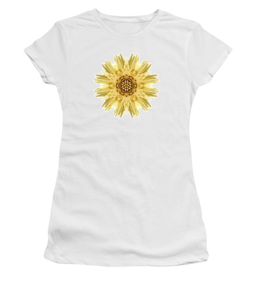 Flower Women's T-Shirt featuring the photograph Pale Yellow Gerbera Daisy I Flower Mandala White by David J Bookbinder