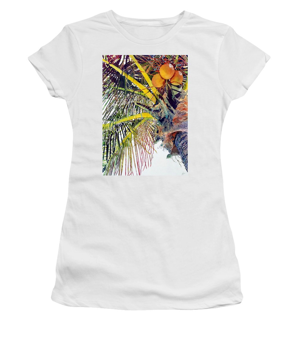 Palm Tree Women's T-Shirt (Athletic Fit) featuring the painting Palms by Greg and Linda Halom