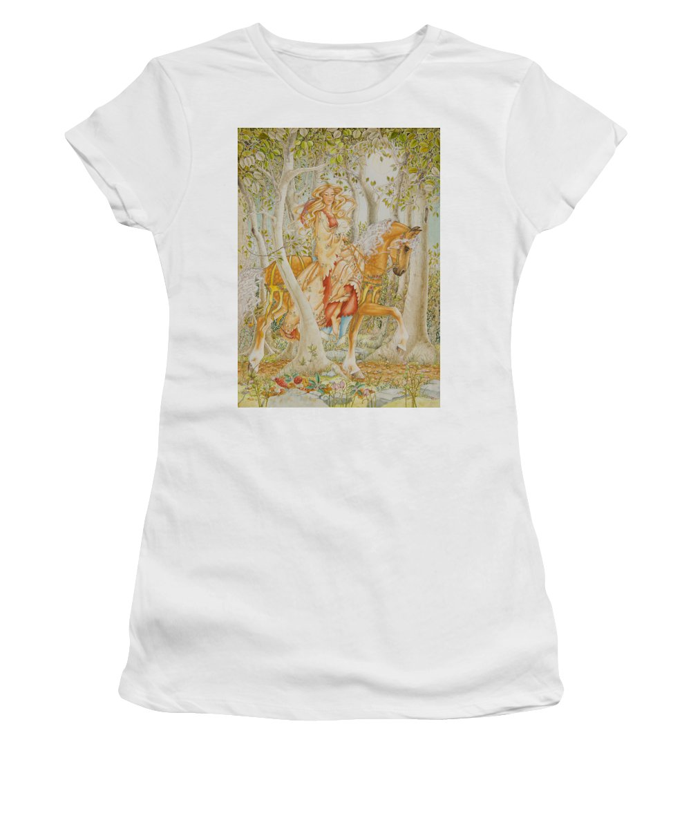 Horse Women's T-Shirt (Athletic Fit) featuring the painting Palomino Princess by Lynn Bywaters