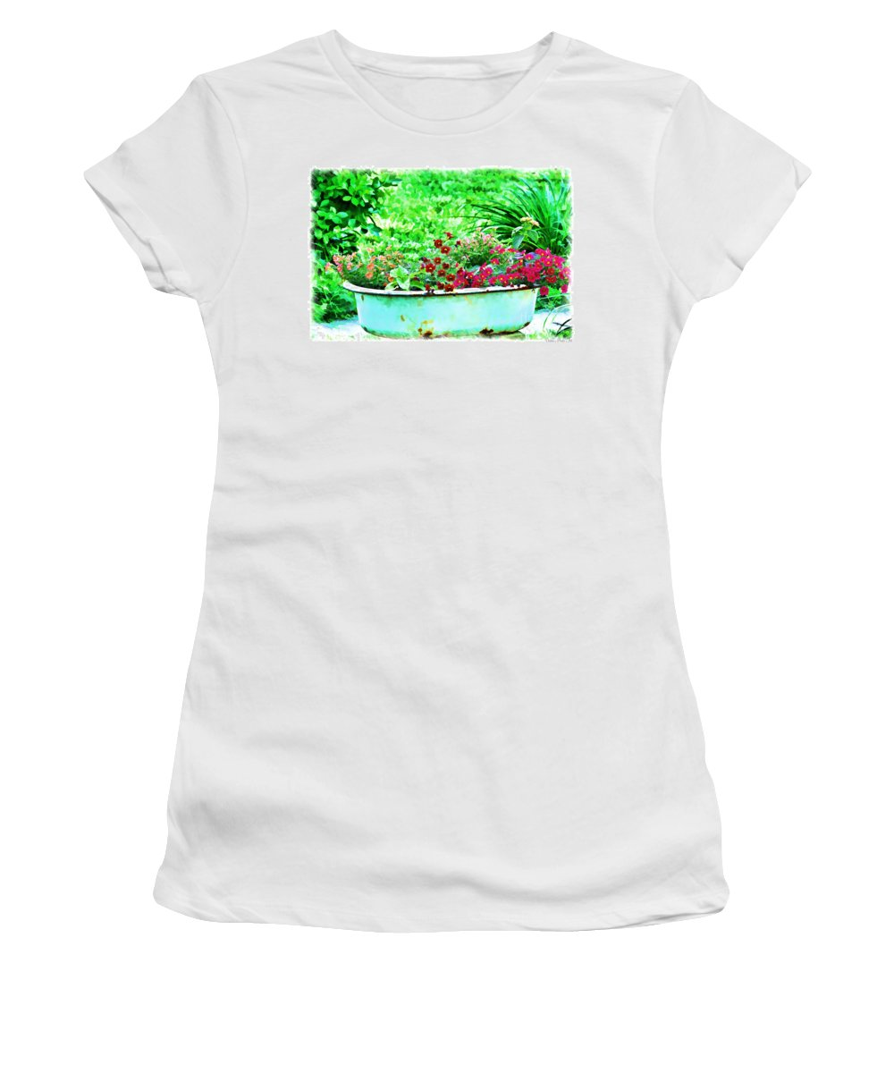 Pot Women's T-Shirt (Athletic Fit) featuring the photograph Pan Full Of Color Digital Paint by Debbie Portwood
