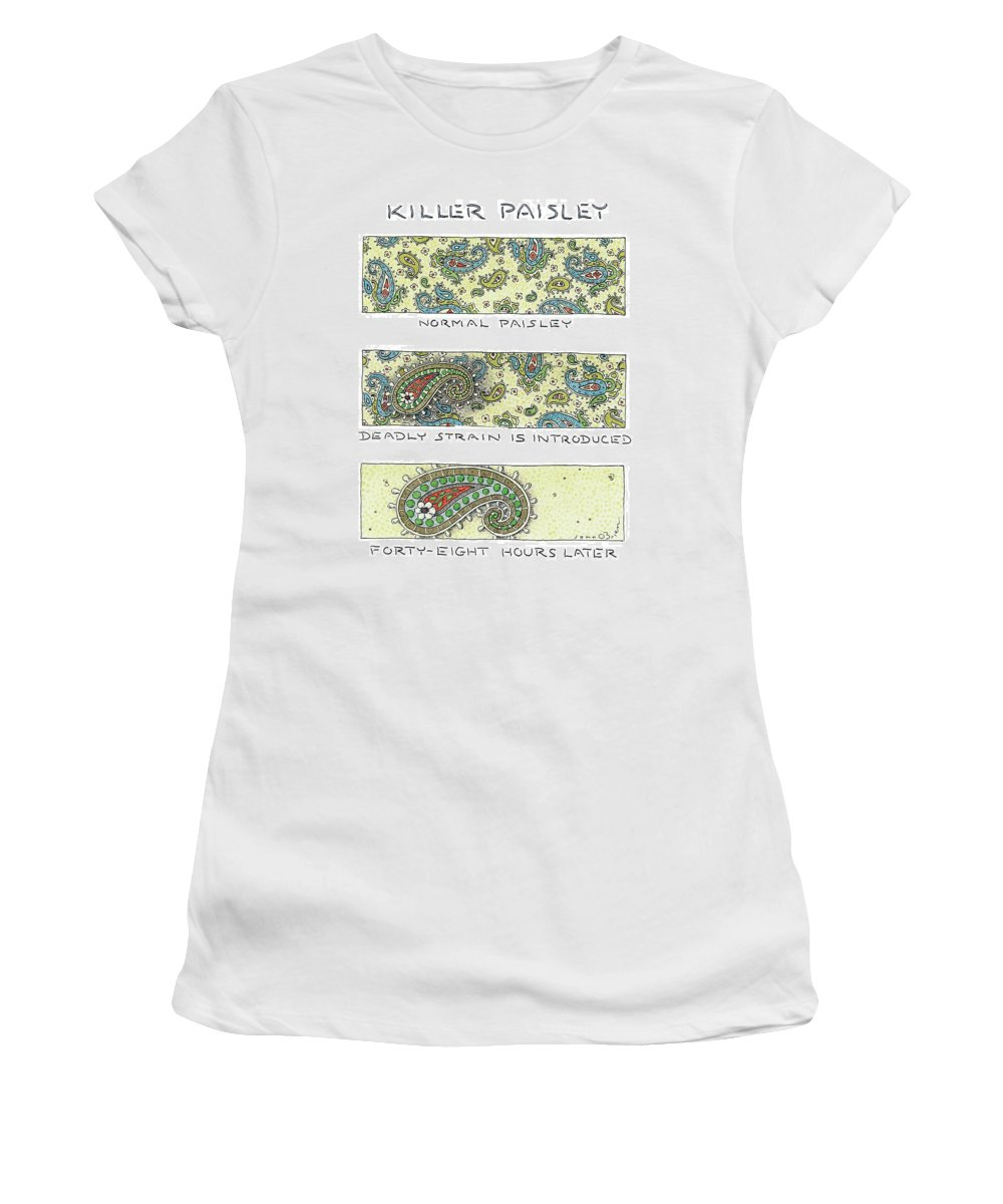 Fabric Women's T-Shirt featuring the drawing Panels Show The Progressive Development by John O'Brien