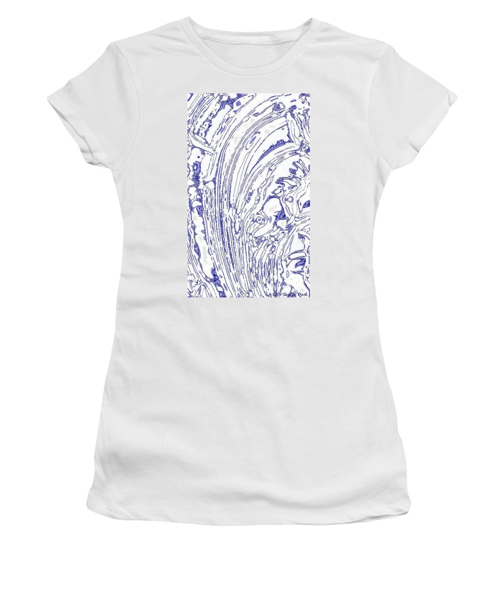Tsunami Women's T-Shirt (Athletic Fit) featuring the photograph Panoramic Grunge Etching Royal Blue Color by Joseph Baril