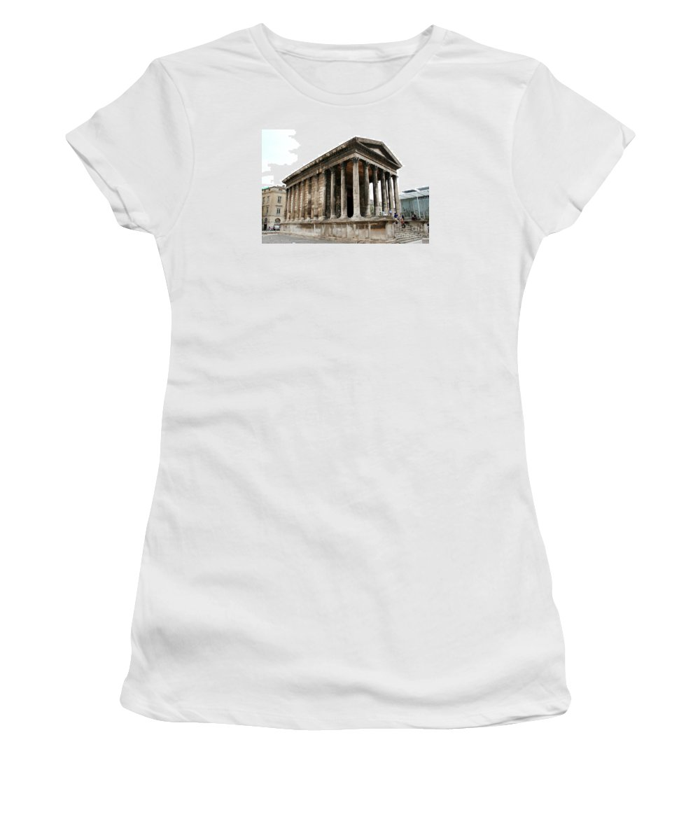 Pantheon Women's T-Shirt (Athletic Fit) featuring the photograph Pantheon Nimes by Christiane Schulze Art And Photography
