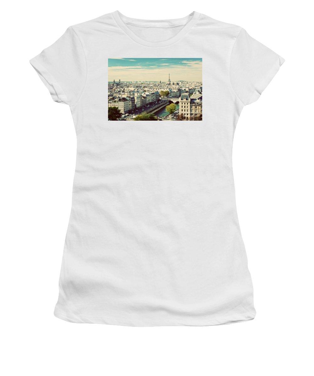 Paris Women's T-Shirt featuring the photograph Paris Skyline France. Eiffel Tower by Michal Bednarek