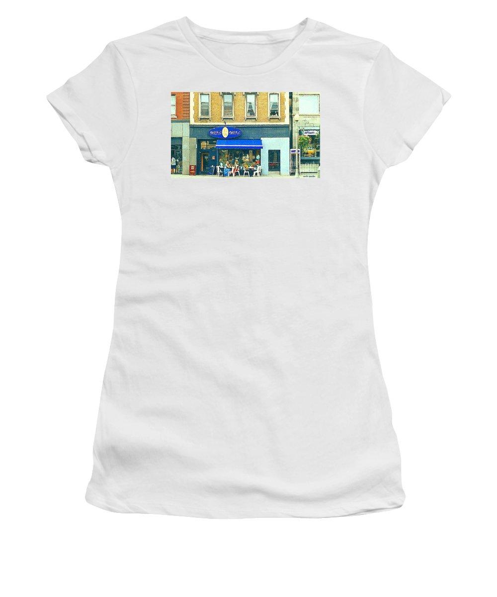 Bistro Women's T-Shirt featuring the painting Paris Style French Bistro Art Sidewalk Cafe Terrace Antique Shop C Spandau Montreal City Paintings by Carole Spandau