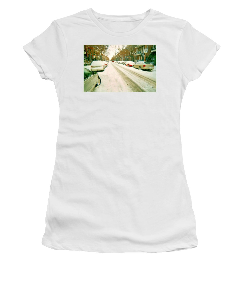 Montreal Women's T-Shirt featuring the painting Parked Cars Snowed In Cold December Day Verdun Painting Quebec Winter Scenes Carole Spandau Art by Carole Spandau