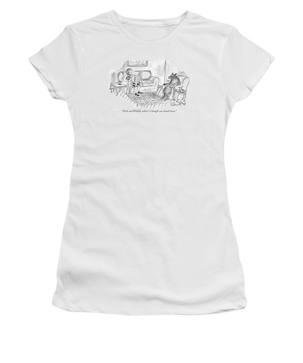 Bears Women's T-Shirt featuring the drawing Parks And Wildlife Called - I Thought by Victoria Roberts