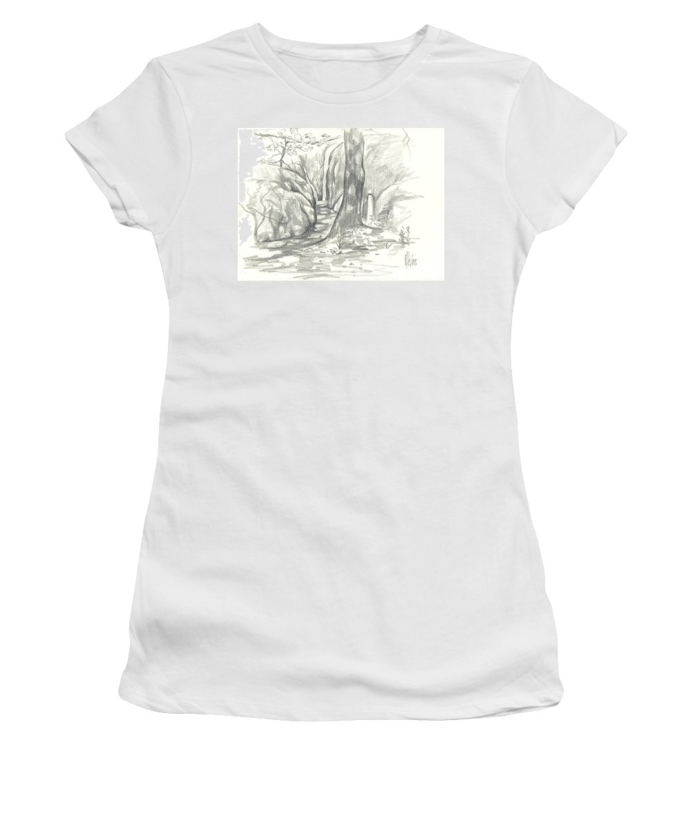 Passageway At Elephant Rocks Women's T-Shirt (Athletic Fit) featuring the drawing Passageway At Elephant Rocks by Kip DeVore