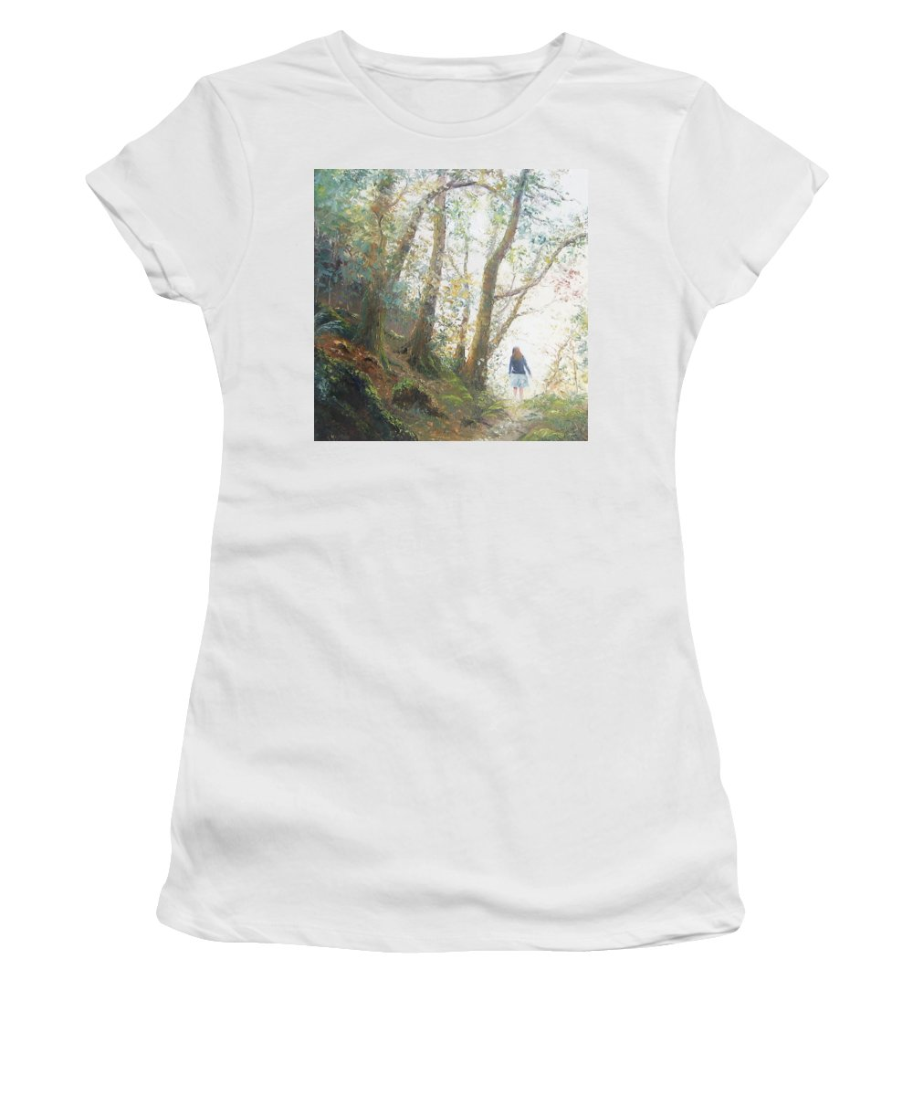 Landscape Women's T-Shirt featuring the painting Path In The Woods by Jan Matson