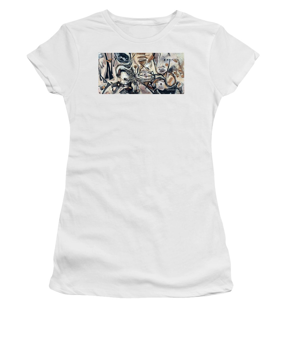 Charcoal Women's T-Shirt (Athletic Fit) featuring the mixed media Pathway Of Journeys by Kerryn Madsen-Pietsch