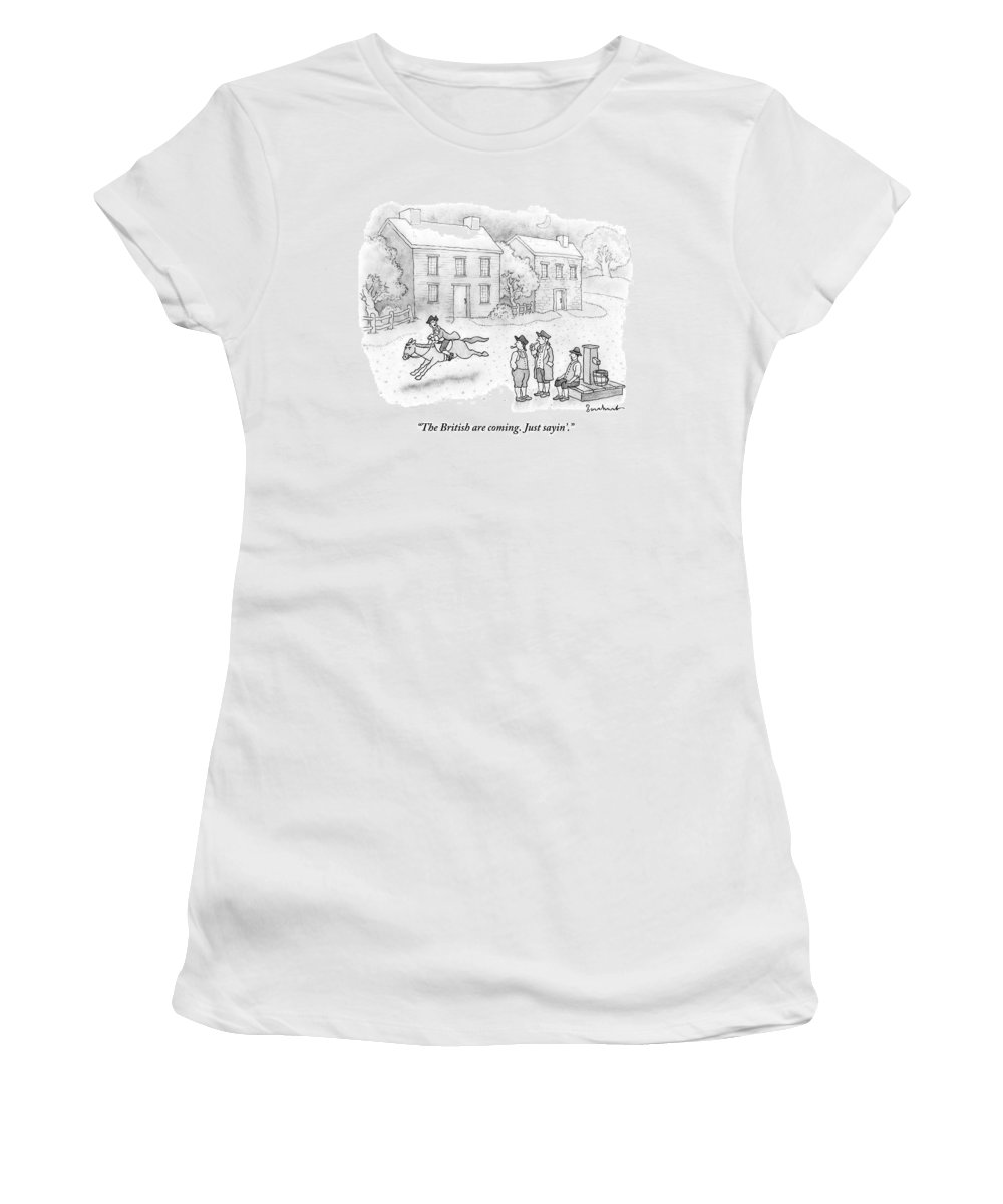 Paul Revere Women's T-Shirt featuring the drawing Paul Revere Rides Past Two Colonial Men Smoking by David Borchart