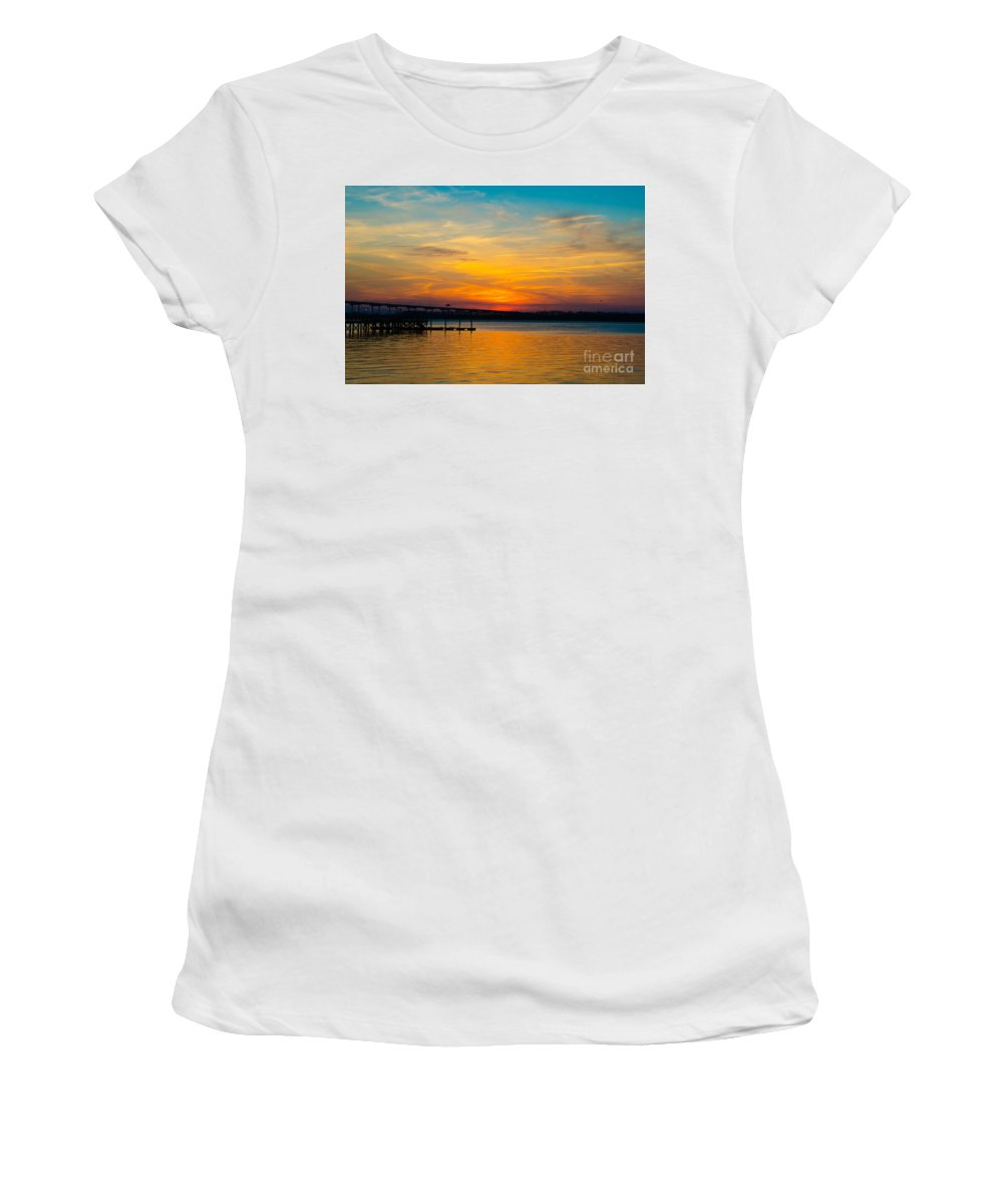 Sunset Women's T-Shirt (Athletic Fit) featuring the photograph Peaceful Hues by Dale Powell