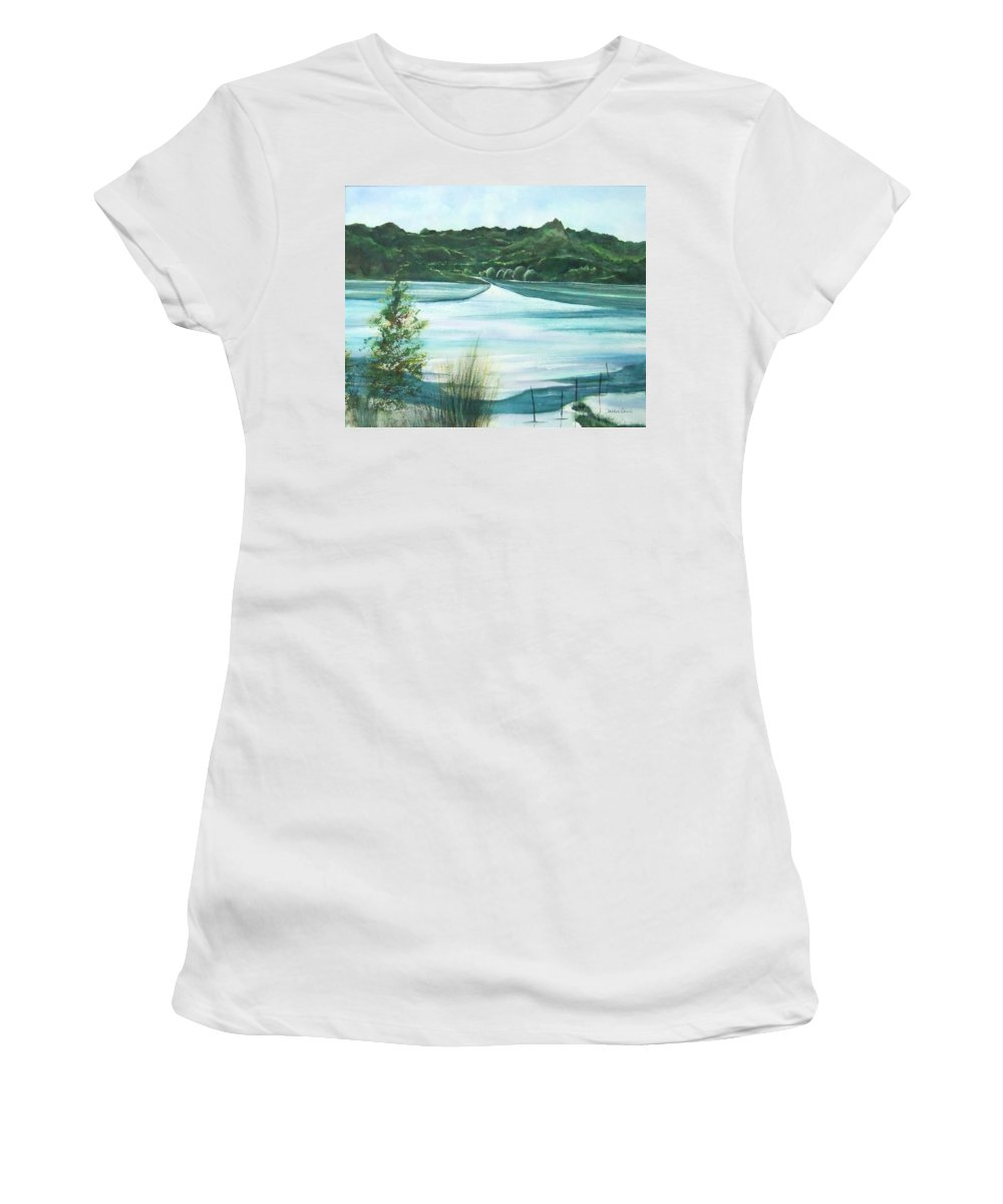 Lake Women's T-Shirt (Athletic Fit) featuring the painting Peaceful Lake by Debbie Lewis