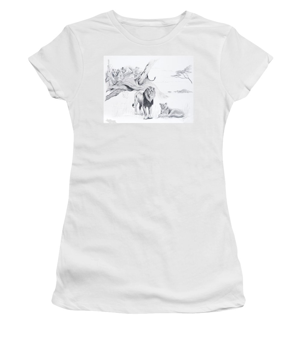 Lion Women's T-Shirt (Athletic Fit) featuring the drawing Peaceful Pride by Joette Snyder