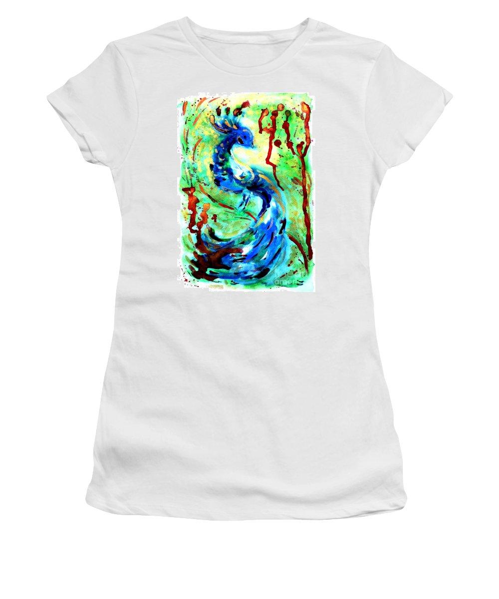 Peacock Women's T-Shirt featuring the painting Peacock by Zaira Dzhaubaeva