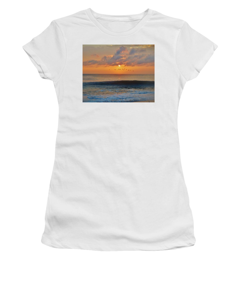 Mark Lemmon Cape Hatteras Nc The Outer Banks Photographer Subjects From Sunrise Women's T-Shirt (Athletic Fit) featuring the photograph Pelicans At Sunrise 9 10/18 by Mark Lemmon