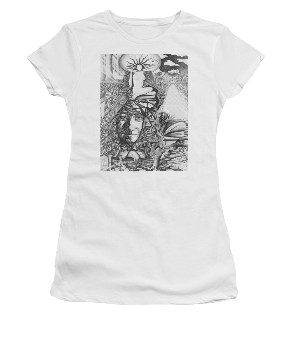 Meditation Women's T-Shirt featuring the drawing Pen And Ink World 3 by Karma Moffett