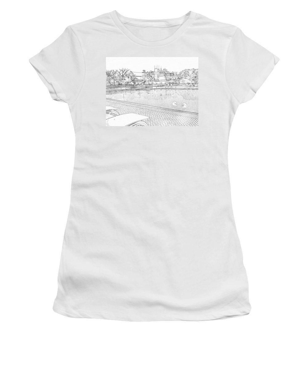 Alleppey Women's T-Shirt featuring the digital art Pencil - Swimming Pool And A Leisure Chair by Ashish Agarwal