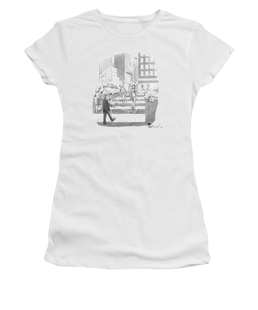 Captionless Women's T-Shirt featuring the drawing People Are Crossing The Street Looking by Liam Walsh