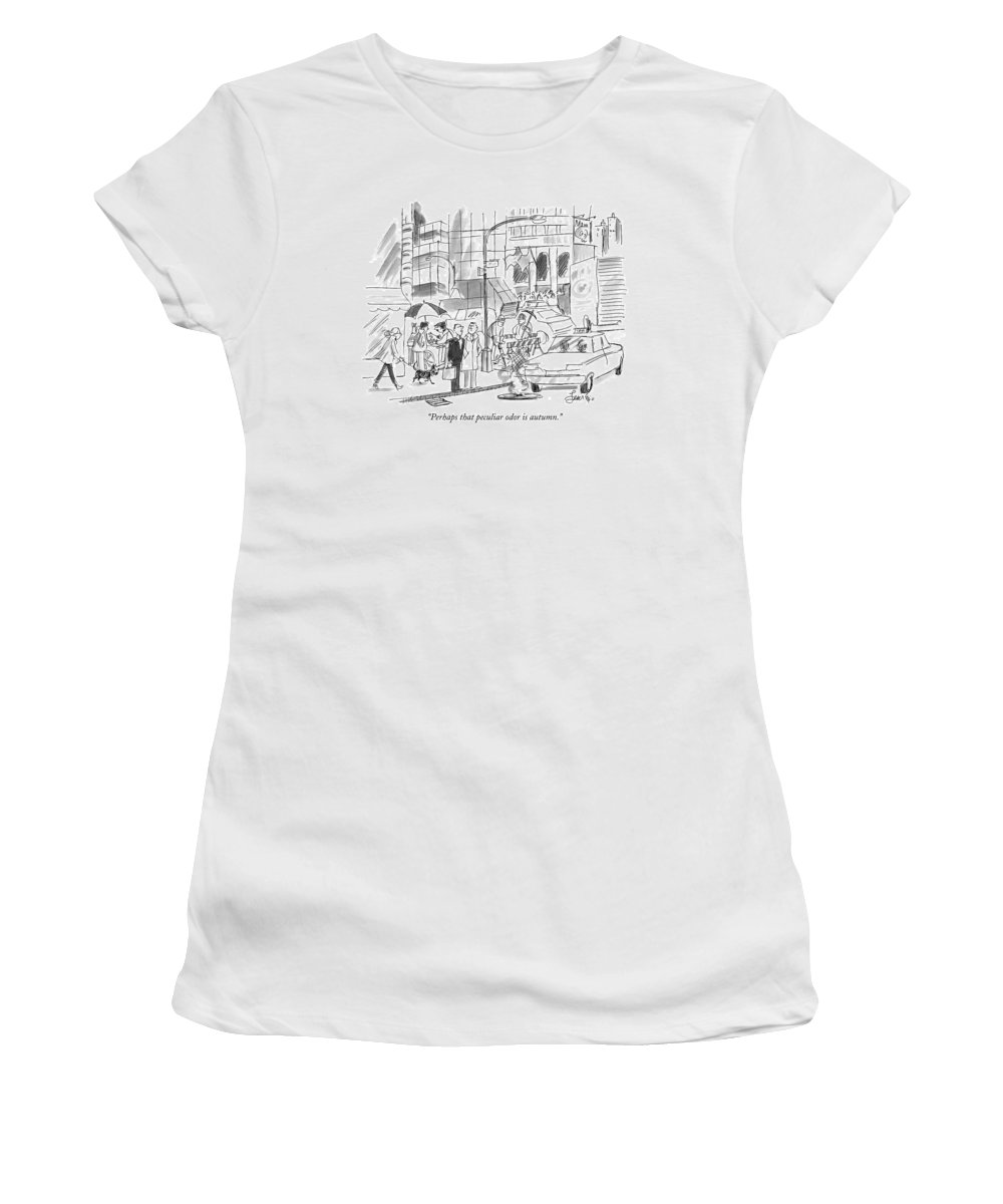 Odor Women's T-Shirt featuring the drawing Perhaps That Peculiar Odor Is Autumn by Edward Frascino
