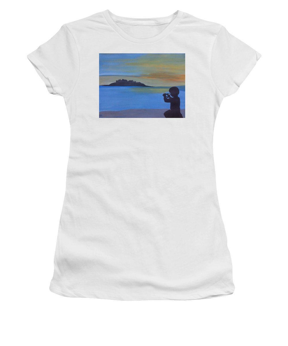 Women's T-Shirt featuring the painting Photoshoot by Surbhi Grover
