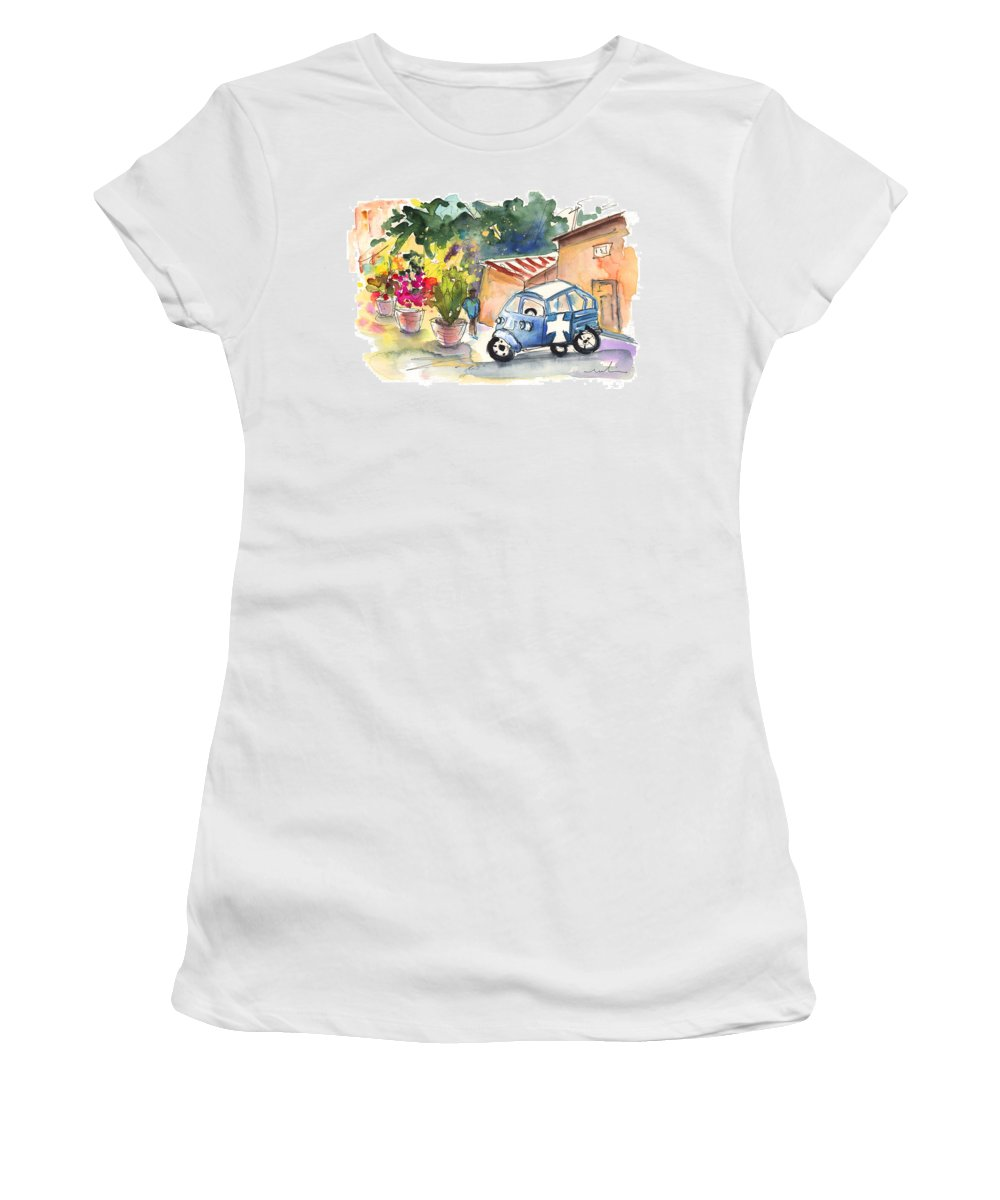 Travel Women's T-Shirt featuring the painting Piaggio In Palermo by Miki De Goodaboom