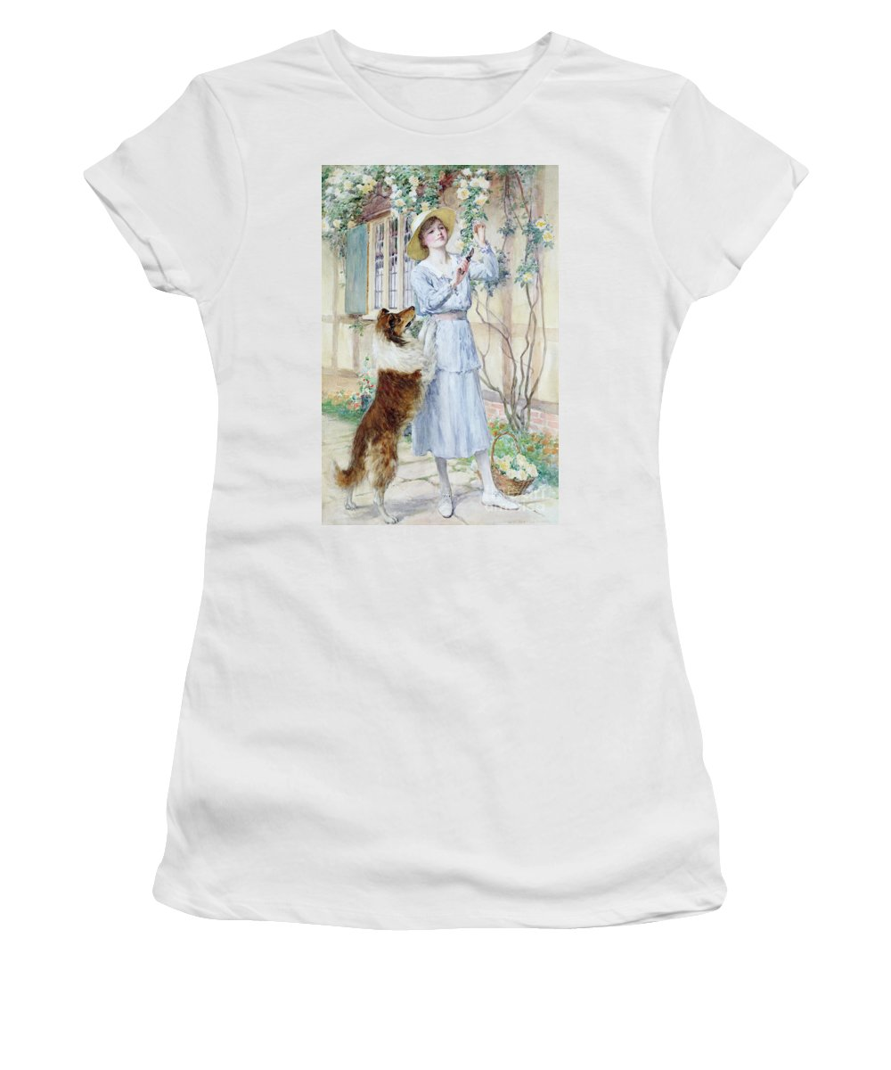 Rose Women's T-Shirt featuring the painting Picking Roses by William Henry Margetson