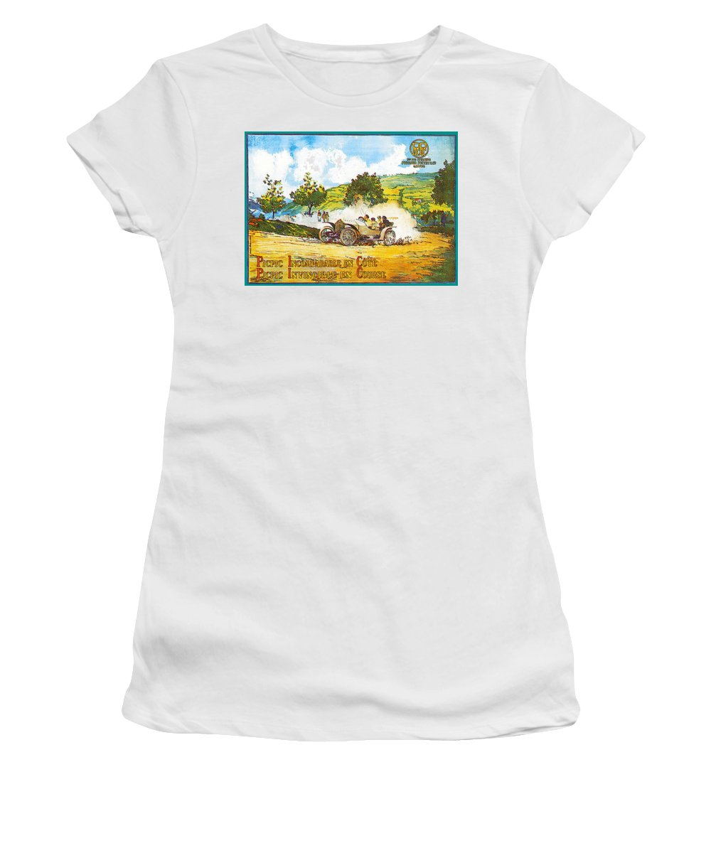 Vintage Automobile Ads And Posters Women's T-Shirt featuring the photograph Picpic Incomparagle En Cote by Vintage Automobile Ads and Posters