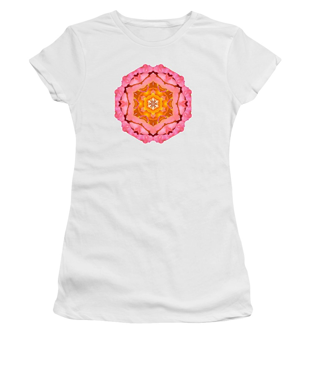 Flower Women's T-Shirt featuring the photograph Pink And Orange Rose I Flower Mandala White by David J Bookbinder