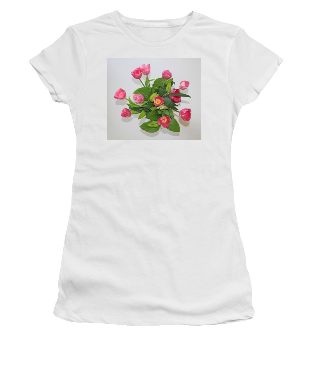 Flowers Women's T-Shirt featuring the photograph Pink Flowers by Carl Deaville