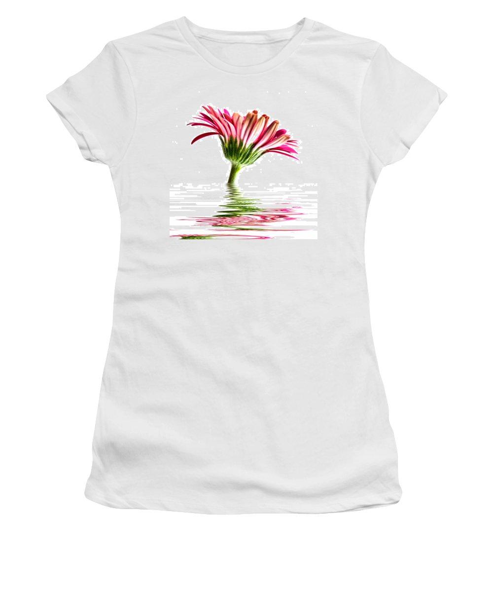 Pink Gerbera Flower Women's T-Shirt featuring the photograph Pink Gerbera Flood 2 by Steve Purnell