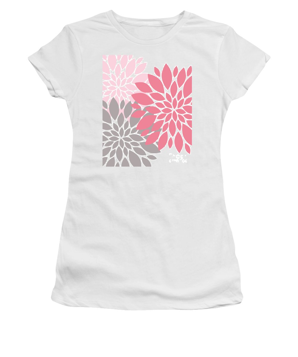 Pink Women's T-Shirt (Athletic Fit) featuring the digital art Pink Gray Peony Flowers by Voros Edit
