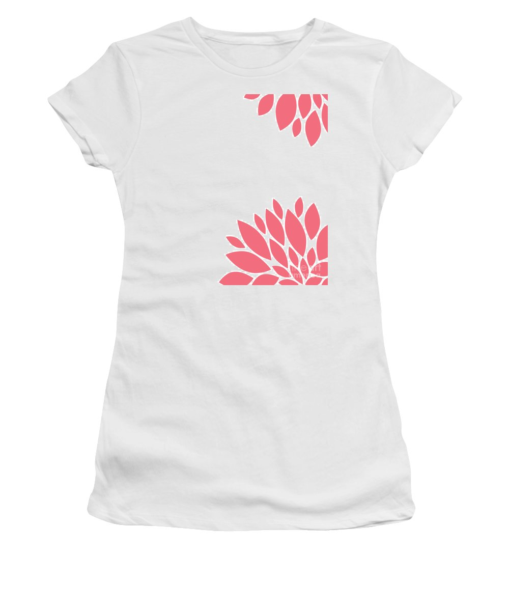 Pink Women's T-Shirt (Athletic Fit) featuring the digital art Pink Peony Flowers by Voros Edit