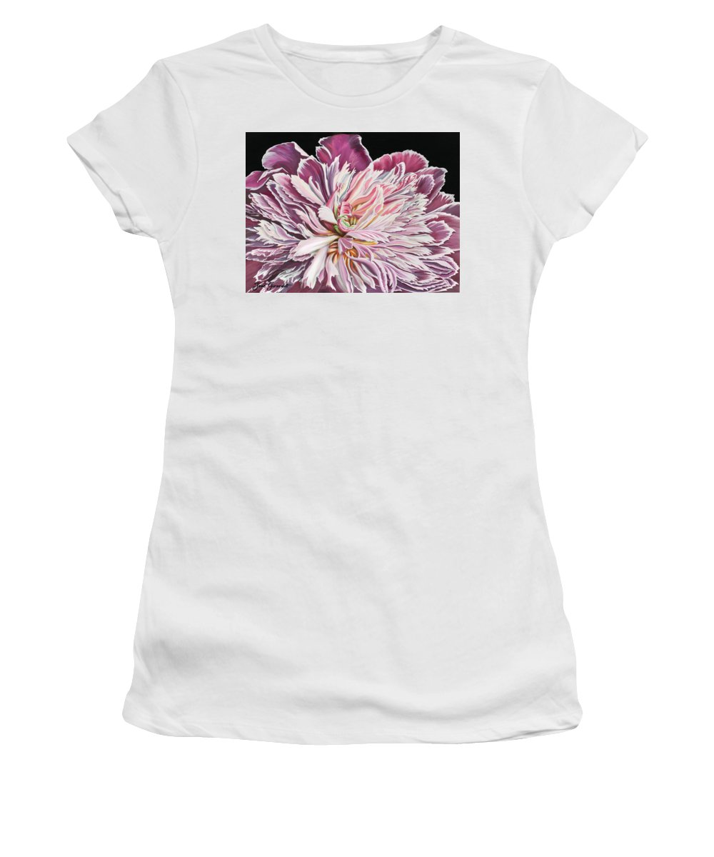 Flower Women's T-Shirt (Athletic Fit) featuring the painting Pink Peony by Jane Girardot