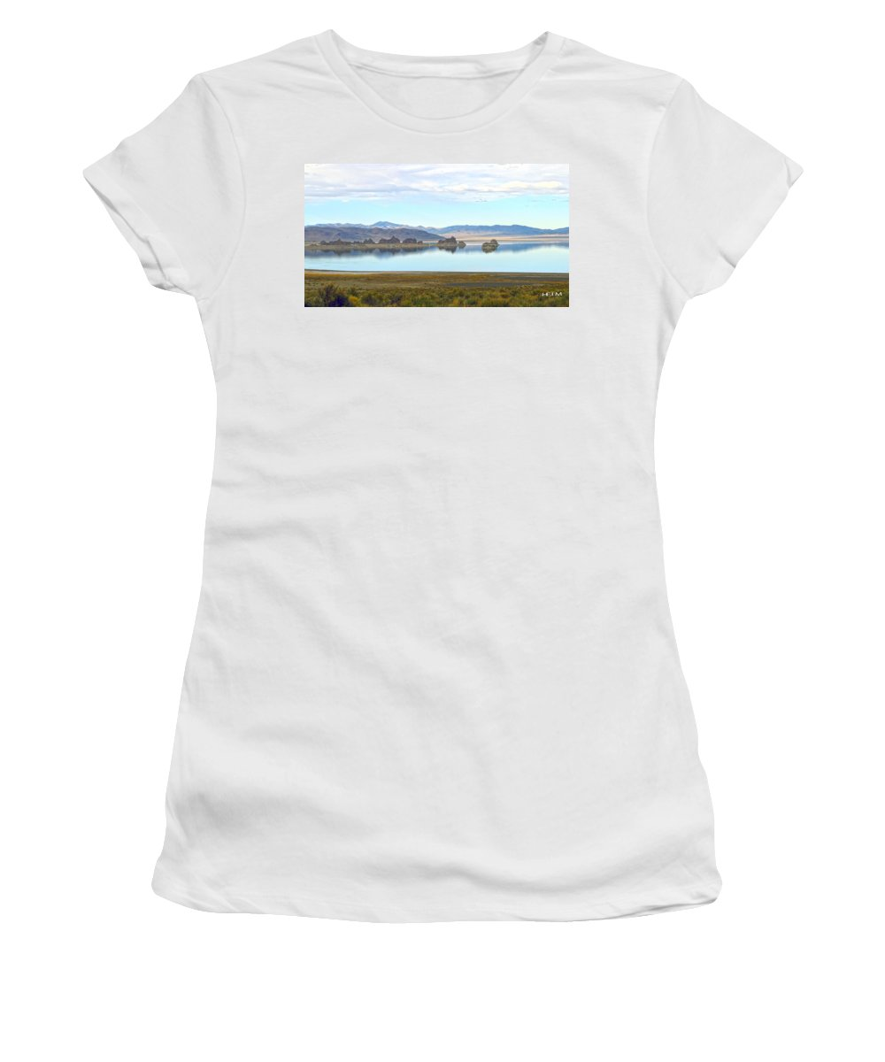 Pyramid Lake Photographs Women's T-Shirt (Athletic Fit) featuring the photograph Pinnacles by Mayhem Mediums
