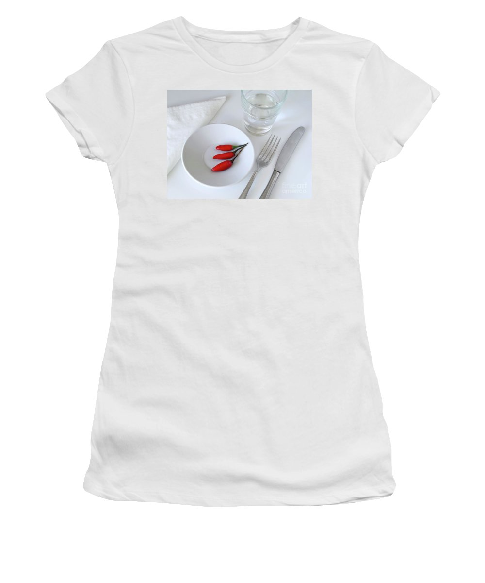 Plate Women's T-Shirt (Athletic Fit) featuring the photograph Plate Of Chilies by Carlos Caetano