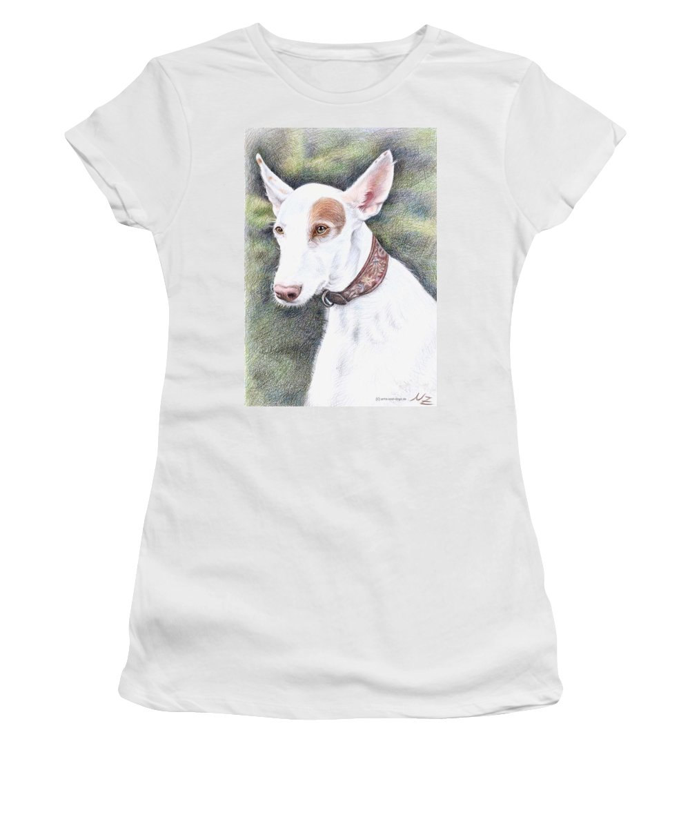 Dog Women's T-Shirt (Athletic Fit) featuring the drawing Podenco Ibicenco by Nicole Zeug